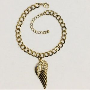 Pave Angel Wing Gold Chain Bracelet